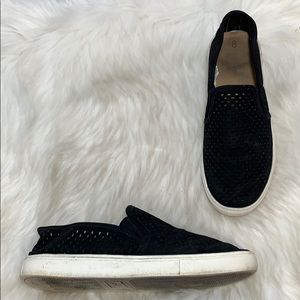 Time And Tru Black Perforated Suede Slip Ons Sz 8